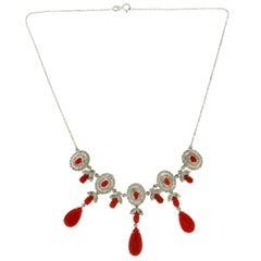 Handcraft Coral 18 Karat White Gold Diamonds Choker Necklace