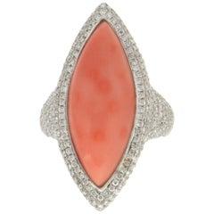 Handcraft Coral 18 Karat White Gold Diamonds Cocktail Ring