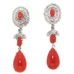 Handcraft Coral 18 Karat White Gold Diamonds Drop Earrings
