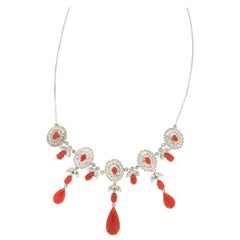 Handcraft Coral 18 Karat White Gold Diamonds Drop Necklace