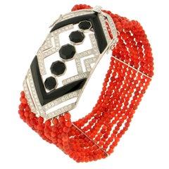 Handcraft Coral 18 Karat White Gold Diamonds Onyx Cuff Bracelet