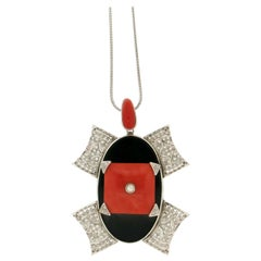 Handcraft Coral 18 Karat White Gold Diamonds Onyx Drop Necklace