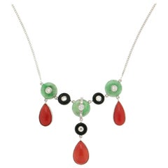 Handcraft Coral 18 Karat White Gold Diamonds Onyx Jade Drop Necklace