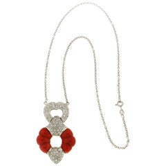 Handcraft Coral 18 Karat White Gold Diamonds Pendant Necklace