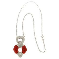 Handcraft Coral 18 Karat White Gold Diamonds Pendant Necklace