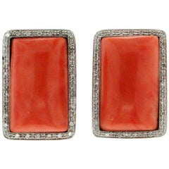 Handcraft Coral 18 Karat White Gold Diamonds Stud Earrings