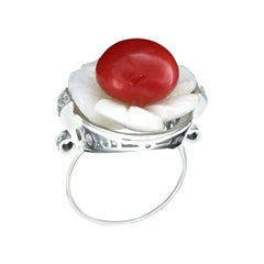 Handcraft Coral 18 Karat White Gold Mother of Pearl Diamonds Cocktail Ring