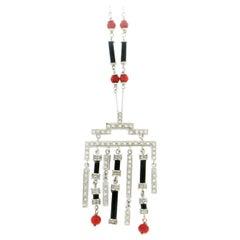 Handcraft Coral 18 Karat White Gold Onyx Diamonds Pendant Necklace