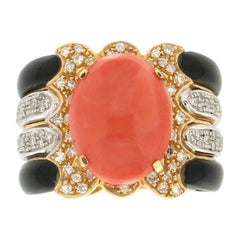 Handcraft Coral 18 Karat Yellow and White Gold Onyx Diamonds Cocktail Ring