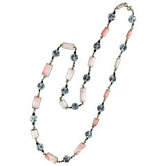 Handcraft Coral 18 Karat Yellow Gold Chain Necklace