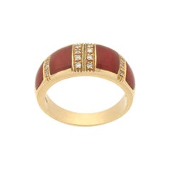 Handcraft Coral 18 Karat Yellow Gold Diamonds Band Ring