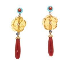 Handcraft Coral 18 Karat Yellow Gold Diamonds Citrine Flowers Drop Earrings