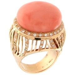 Handcraft Coral 18 Karat Yellow Gold Diamonds Cocktail Ring