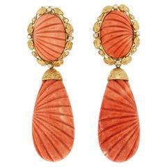 Handcraft Coral 18 Karat Yellow Gold Diamonds Drop Earrings