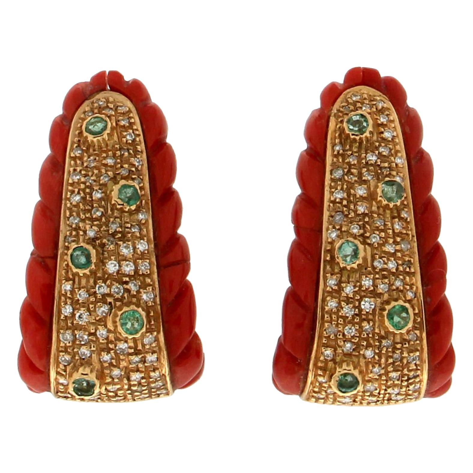 Handcraft Coral 18 Karat Yellow Gold Diamonds Emeralds Stud Earrings
