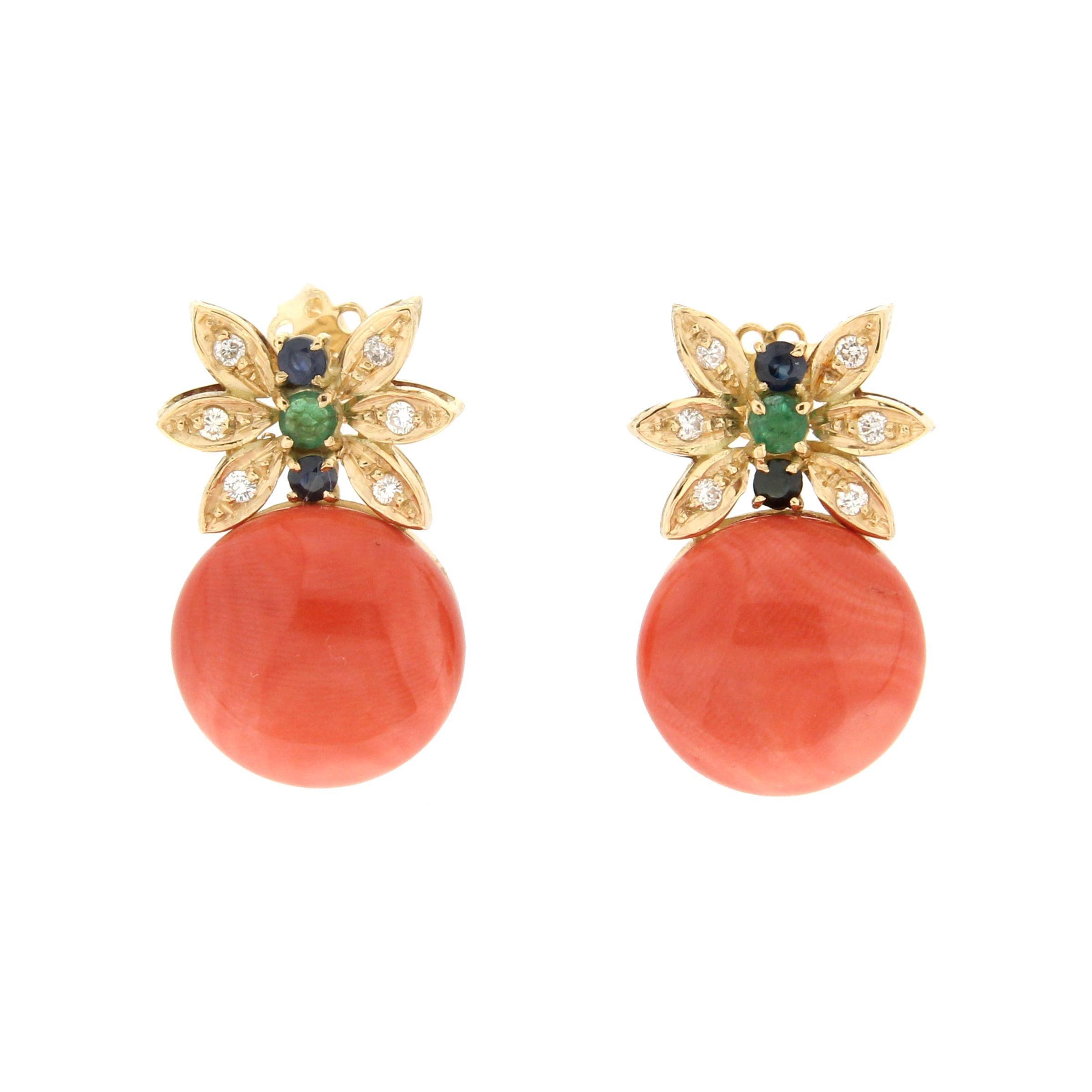 Handcraft Coral 18 Karat Yellow Gold Diamonds Sapphires Emeralds Stud Earrings
