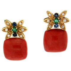 Handcraft Coral 18 Karat Yellow Gold Diamonds Sapphires Emeralds Stud Earrings