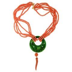 Handcraft Coral 18 Karat Yellow Gold Jade Drop Necklace
