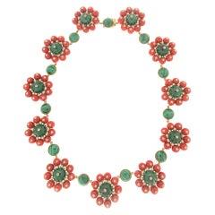 Handcraft Coral 18 Karat Yellow Gold Malachite Diamonds Choker Necklace
