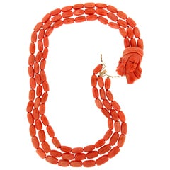 Handcraft Coral 18 Karat Yellow Gold Multi-Strand Necklace