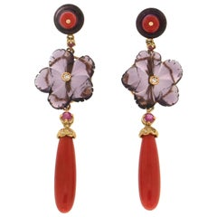 Handcraft Coral 18 Karat Yellow Gold Ruby Diamonds and Amethyst Drop Earrings