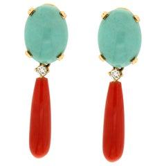 Handcraft Coral 18 Karat Yellow Gold Turquoise Diamonds Drop Earrings