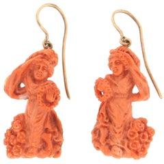 Handcraft Coral 9 Karat Yellow Gold Drop Earrings