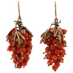 Handcraft Coral 9 Karat Yellow Gold Drop Earrings