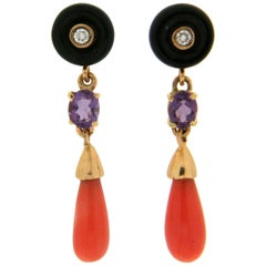Handcraft Coral and Onyx 18 Karat Yellow Gold Diamonds Amethyst Drop Earrings