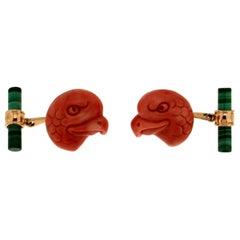 Handcraft Coral Eagles 18 Karat Yellow Gold Malachite Cufflinks