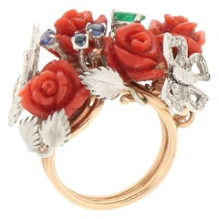 Handcraft Coral Flowers 14 Karat Gold Diamonds Sapphires Emerald Cocktail Ring