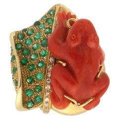 Handcraft Coral Frog 18 Karat Gold Diamonds Emeralds Cocktail Ring