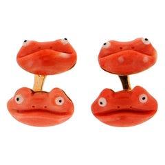Handcraft Coral Frog 18 Karat Yellow Gold Cufflinks