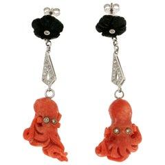 Handcraft Coral Octopus 18 Karat White Gold Diamonds Onyx Drop Earrings