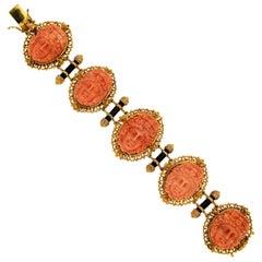 Handcraft Coral Onyx 9 Karat Yellow Gold Cuff Bracelet