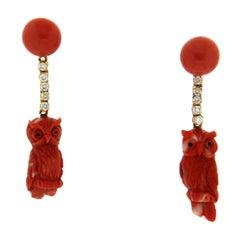 Handcraft Coral Owl 18 Karat Yellow Gold Diamonds Drop Earrings