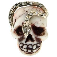Handcraft Coral Skull 14 Karat Yellow Gold Diamonds Cocktail Ring
