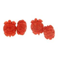 Handcraft Coral Turtle 18 Karat Yellow Gold Cufflinks