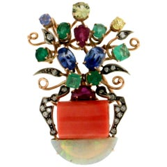 Handcraft Coral Vase 14 Karat Yellow Gold Diamonds Opal Emerald Brooch