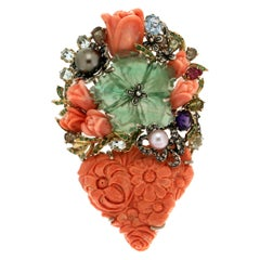 Handcraft Coral Vase 14 Karat Yellow Gold Diamonds Pendant Brooch