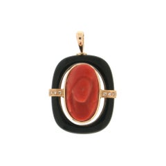 Handcraft Coral Woman Face 14 Karat Yellow Gold Diamonds Onyx Pendant Necklace