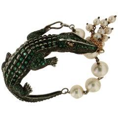 Handcraft Crocodile 14 Karat Yellow Gold Emeralds Pearls Cuff Bracelet