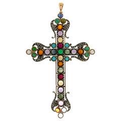 Handcraft Cross 14 Karat Gold Diamonds Semiprecious Stones Pendant Necklace