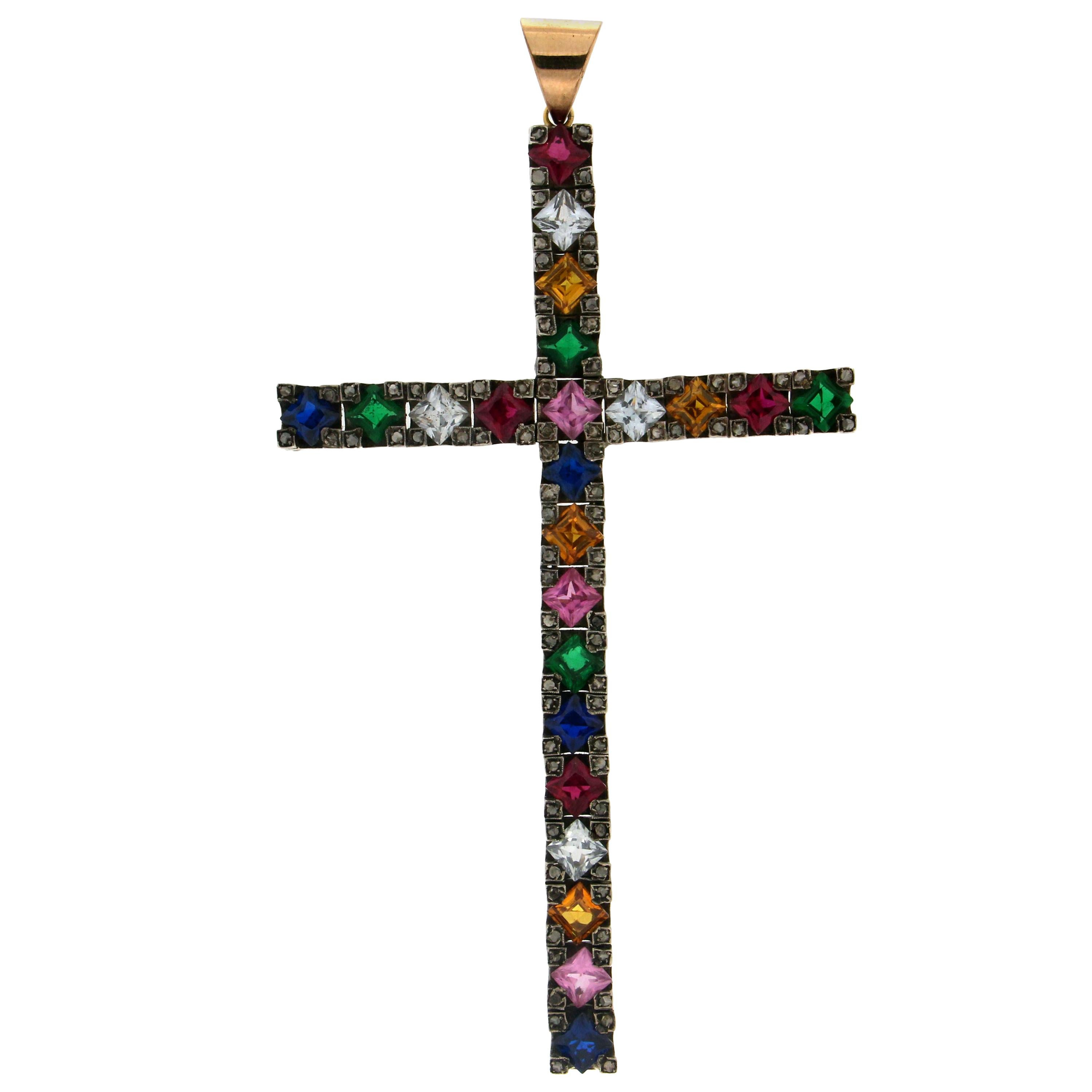 Handcraft Cross 14 Karat Gold Diamonds Semiprecious Stones Pendant Necklace