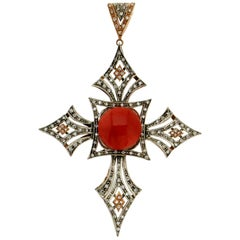 Handcraft Cross 14 Karat Yellow Gold Diamonds Coral Pendant Necklace