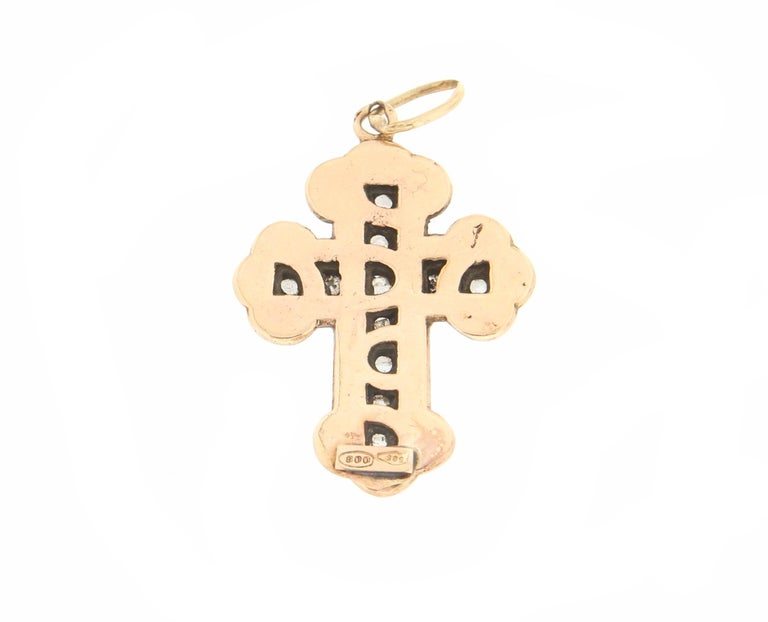 Artisan Handcraft Cross 14 Karat Yellow Gold Diamonds Pendant Necklace For Sale