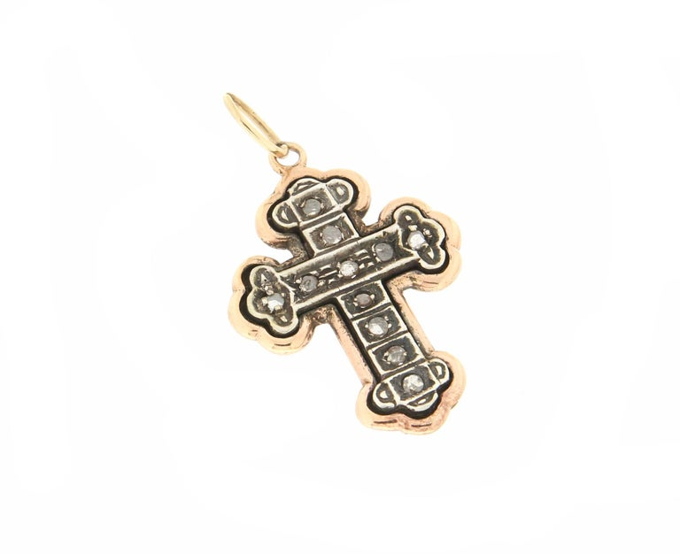 Antique Cushion Cut Handcraft Cross 14 Karat Yellow Gold Diamonds Pendant Necklace For Sale