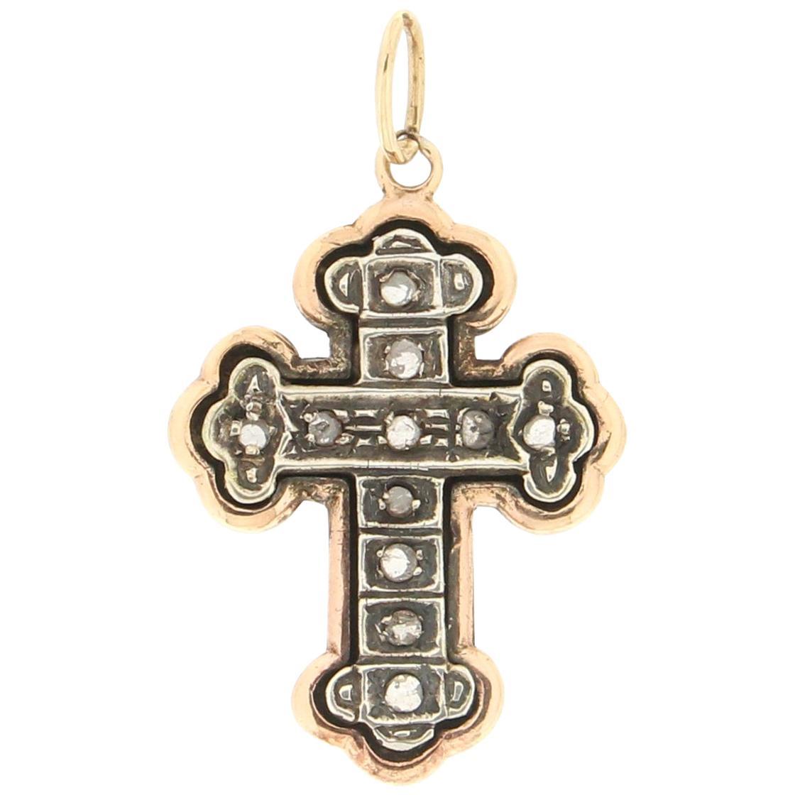 Handcraft Cross 14 Karat Yellow Gold Diamonds Pendant Necklace