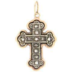 Handcraft Cross 14 Karat Yellow Gold Diamonds Pendant Necklace