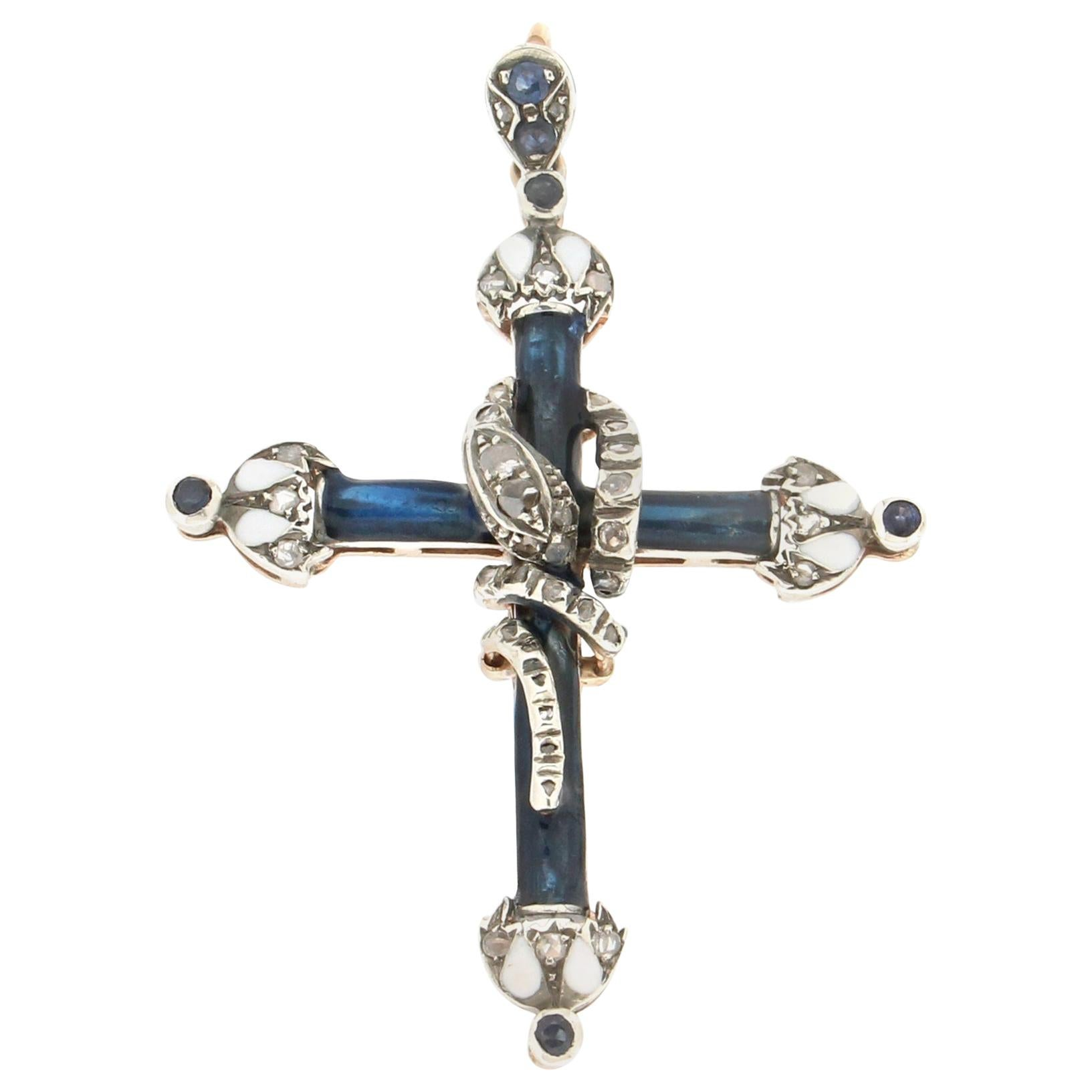 Handcraft Cross 14 Karat Yellow Gold Diamonds Sapphires Enamel Pendant Necklace